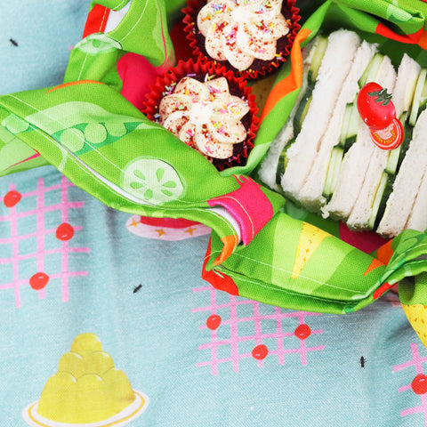 Cucumber-Sandwiches-And-Cupcakes-In-A-Green-Tea-Towel