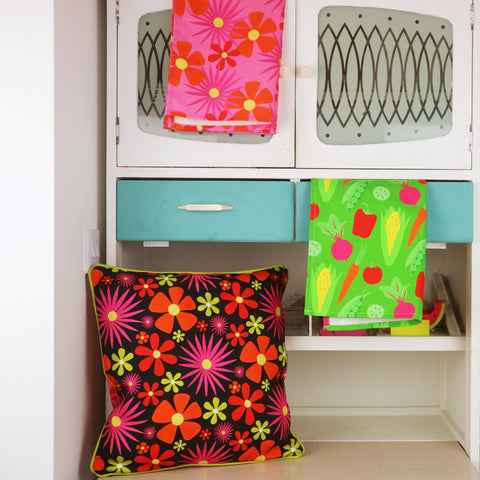 Flower-Power-Cushion-And-Tea-Towel-By-Chimps-Tea-Party