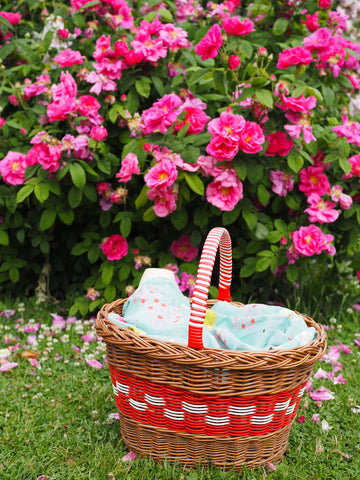 Picnic-Basket-In-Front-Of-Bright-Pink-Roses