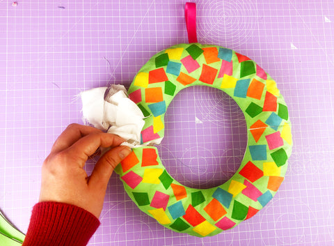 Stuffing-Christmas-Wreath-With-Fabric-Scraps