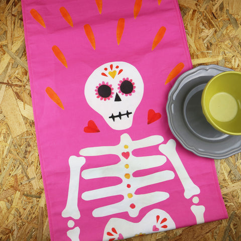 MADE TO ORDER Pink Skeleton Table Runner