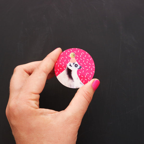 Big Bright Pink Lemur Birthday Party Badge