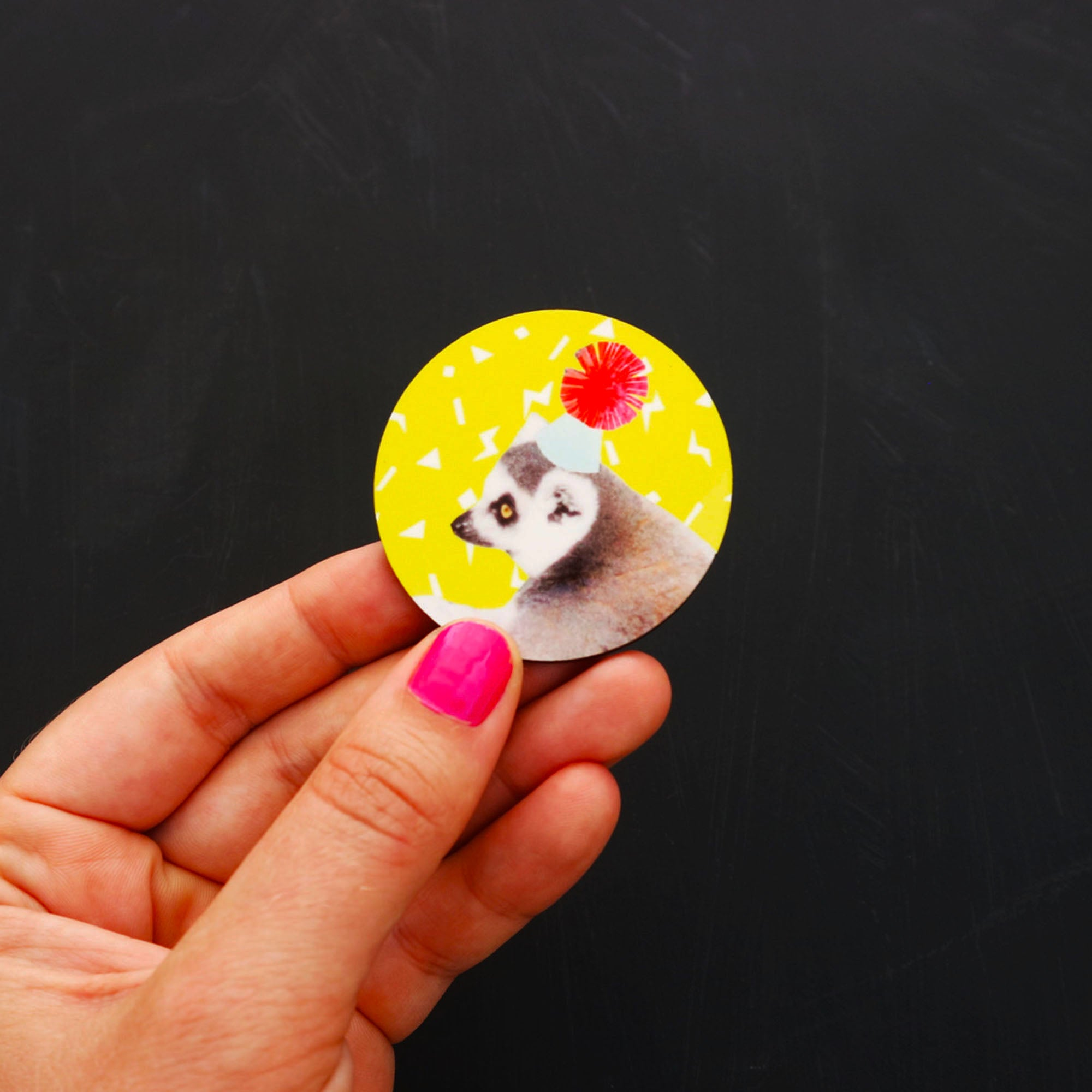 Big Yellow Lemur Birthday Party Badge