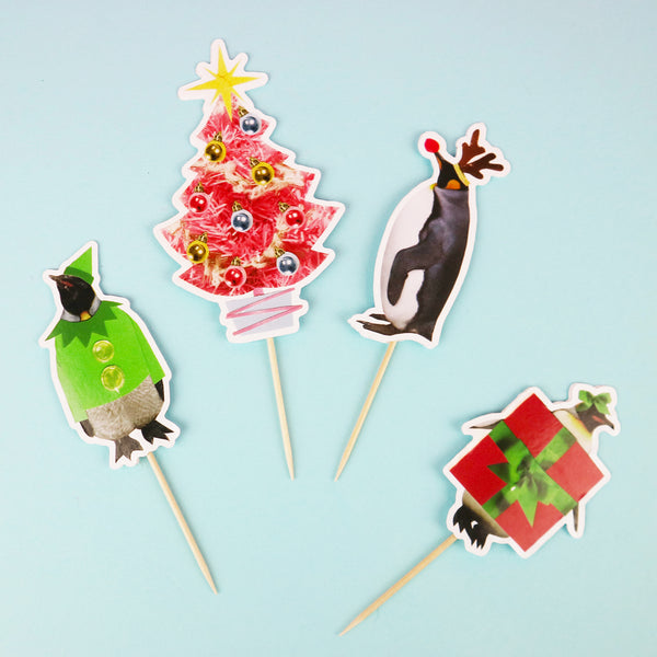 Penguin Party Christmas Cake Topper Set
