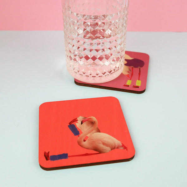 Flamingo Fitness Coasters | Set of 4 or Single
