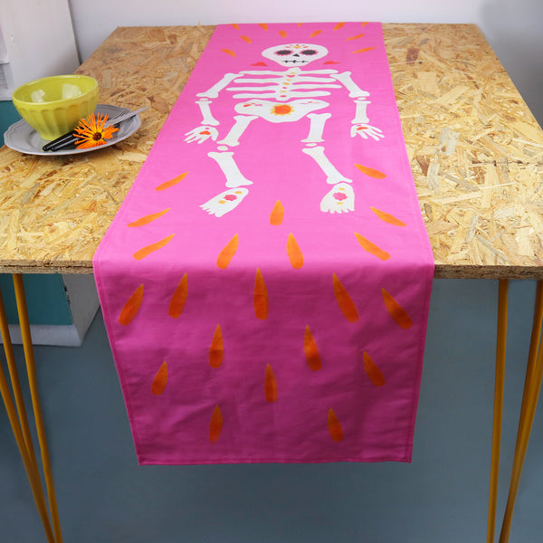 Pink Skeleton Table Runner