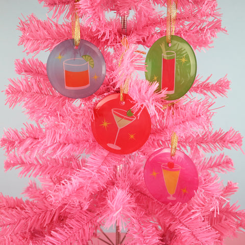Cocktail Christmas Tree Ornaments | Single or Set of 4