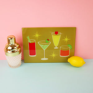 Cocktails Glass Chopping Board