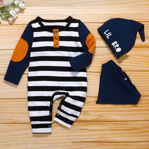 (0-12M) Baby Romper Set Winter Long Sleeve New Patch Printed Striped Button Romper + Hat + Saliva Towel Set детская одежда 50* - shopbabyitems