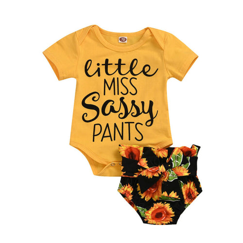 0-18M  Summer Infant Baby Girl Clothes T-shirt Tops+Sunflower Shorts Outfits - shopbabyitems
