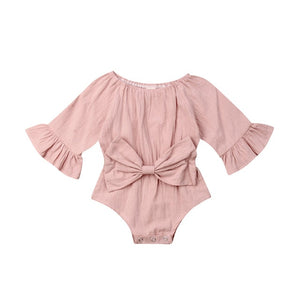 0-24M  Newborn Infant Baby Girl Clothes Long Sleeve Rompr Jumpsuit Summer Bow Outfit - shopbabyitems