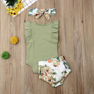 0-24M  Newborn Infant Baby Girls Clothes Ruffle Sleeve Romper Floral Shorts Outfit - shopbabyitems