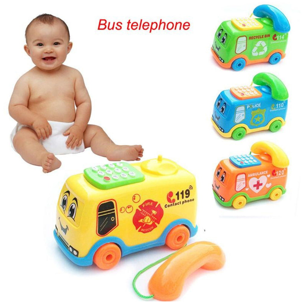 Funny Music Cartoon Bus Phone Educational Developmental Kids Baby Toy Gift - shopbabyitems