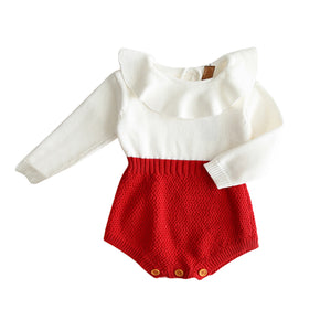 Autumn Cute Infant Baby Girls Newborn Long Sleeve Jumpsuit Knitted Ruffle Romper - shopbabyitems
