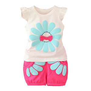 Sun Flower Bowknot Summer Two-Piece Baby Girl Sleeveless Top Tee Short Pants - shopbabyitems