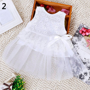 Kids Baby Girls' Floral Lace Bowknot Dress Party Princess Tutu Tulle Dress - shopbabyitems