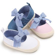 Load image into Gallery viewer, Baby Girl Little Princess Bowknot Striped Slip On Newborn Toddler Soft Shoes - shopbabyitems