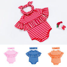 Load image into Gallery viewer, Fashion Baby Girl Striped Ruffled Short Sleeve Romper Jumpsuit and Headband - shopbabyitems