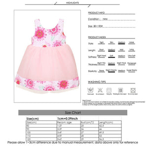 Fashion Baby Girl Flowers Printed Bowknot Sleeveless Veil Dress Party Outfits - shopbabyitems