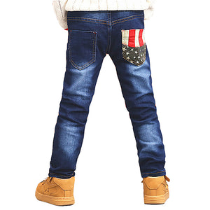 Fashion Star Pattern Kids Boys Pants Full Length Cotton Pocket Breathable Jeans - shopbabyitems