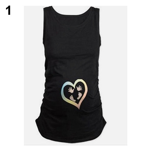 Women's Fashion Casual Heart Print Comfortable Soft T-shirt Vest for Pregnant - shopbabyitems