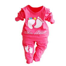 Load image into Gallery viewer, 2 Pieces Set T-shirt+Pants Cute Footprint Baby Girl Boy Newborn Clothing Outfit - shopbabyitems