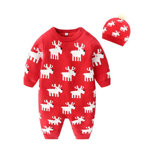 1-24M Baby Winter Thickened New Christmas Deer Romper Cotton Knit and Fleece One-piece Boys and Girls Warm Romper Hat Clothes - shopbabyitems