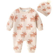 Load image into Gallery viewer, 1-24M Baby Winter Thickened New Christmas Deer Romper Cotton Knit and Fleece One-piece Boys and Girls Warm Romper Hat Clothes - shopbabyitems