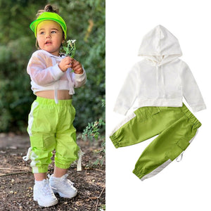 1-6T Toddler Kids Baby Girl Summer Outfits Infant Clothes Sets Net Hooded T-Shirt Tops Pants Outfit - shopbabyitems
