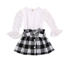 Load image into Gallery viewer, 1-6Y Fashion Children Girls Clothing Sets Autumn Kids Girls Lace Mesh Flare Sleeve T-shirts+Plaid A-line Skirts Xmas Clothes - shopbabyitems