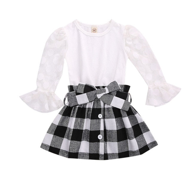 1-6Y Fashion Children Girls Clothing Sets Autumn Kids Girls Lace Mesh Flare Sleeve T-shirts+Plaid A-line Skirts Xmas Clothes - shopbabyitems