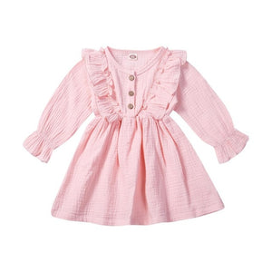 1-6Y Toddler Kids Baby Girl Autumn Dress Ruffles Long Sleeve Solid - shopbabyitems