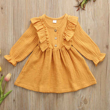 Load image into Gallery viewer, 1-6Y Toddler Kids Baby Girl Autumn Dress Ruffles Long Sleeve Solid - shopbabyitems