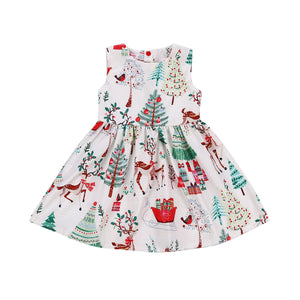 1-7Years Christmas  Dress Kids Baby Girl Deer Sleeveless Party Dress - shopbabyitems