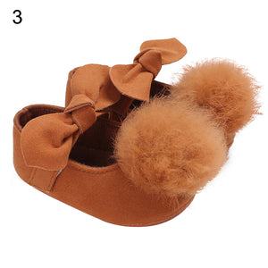 Infant Baby Girl Wedding Faux Leather Bowknot Pom Pom Soft Walking Shoes Gift - shopbabyitems