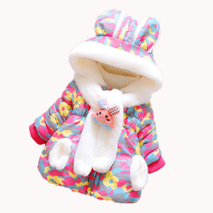 Baby Girl Winter Clothes Baby Coat Hooded Jacket Cartoon Rabbit Ears Long Sleeve Girls Jacket - shopbabyitems
