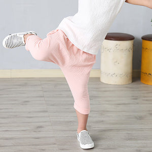 Unisex Solid Color Wrinkle Cotton Baby Kids Long Pants Trousers Leisure Bloomers - shopbabyitems