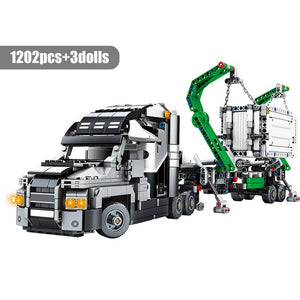 1202pcs City Big Truck Engineering Buiding Blocks Legoing Technic Mark Container Vehicles Car Figures Bricks Toys For Children - shopbabyitems