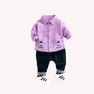 spring/autumn baby Boy clothing set sports suit set children girls tracksuit clothes T shirt+pant - shopbabyitems