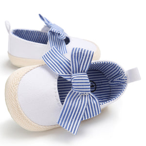 Baby Girl Little Princess Bowknot Striped Slip On Newborn Toddler Soft Shoes - shopbabyitems