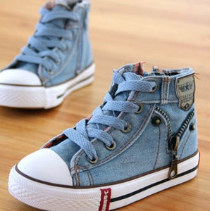 14 kinds New Arrived Size 25-37 Children Shoes Kids Canvas Sneakers Boys Jeans Flats Girls Boots Denim Side Zipper Shoes - shopbabyitems