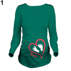 Women Spring Maternity Long Sleeve Name Print T Shirt Plus Size Pregnant Blouse - shopbabyitems