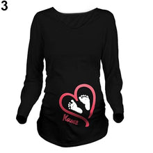 Load image into Gallery viewer, Women Spring Maternity Long Sleeve Name Print T Shirt Plus Size Pregnant Blouse - shopbabyitems
