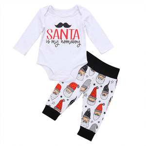 Lovely Letter Print Romper Santa Claus Pants Baby Boys Girls Christmas Outfit - shopbabyitems