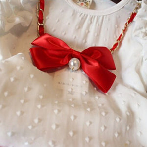 Baby Girls' Chiffon Bubble Shirt Shorts Bow Faux Pearl Outfits Clothing Set - shopbabyitems