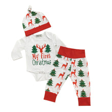 Load image into Gallery viewer, Newborn Baby Christmas Tree Deer Letters Print Romper Long Pants Cap Outfits - shopbabyitems