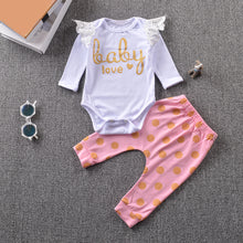 Load image into Gallery viewer, Summer Baby Girl Lace Letter Print T-Shirt + Dotted Pants Outfit Clothing Set - shopbabyitems