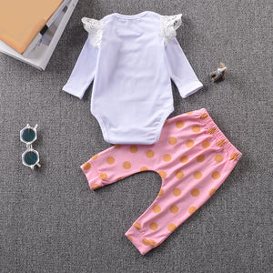 Summer Baby Girl Lace Letter Print T-Shirt + Dotted Pants Outfit Clothing Set - shopbabyitems