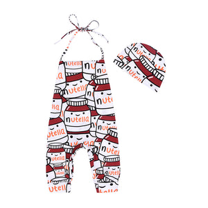 Cute Baby Girl Romper Cartoon Milk Bottle Halter Jumpsuit + Hat Outfit Clothes - shopbabyitems