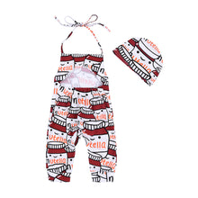 Load image into Gallery viewer, Cute Baby Girl Romper Cartoon Milk Bottle Halter Jumpsuit + Hat Outfit Clothes - shopbabyitems